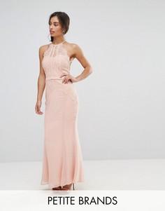 Платье макси с кружевной отделкой и юбкой-годе Little Mistress Petite - Розовый