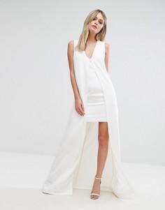 Облегающее платье с верхним слоем в стиле кейп Lavish Alice - Белый