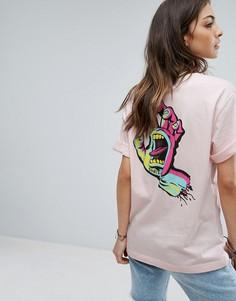 Футболка бойфренда с принтом на спине Santa Cruz - Розовый