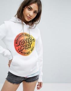Oversize-худи с выцветшим принтом логотипа Santa Cruz - Белый