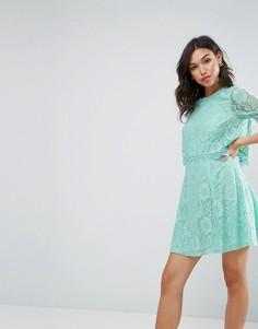 Кружевное приталенное платье мини с кроп-топом ASOS - Зеленый