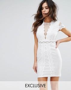 Сетчатое облегающее платье с кружевной отделкой NaaNaa - Белый