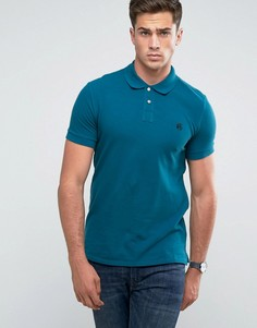Сине-зеленая узкая футболка-поло с логотипом PS by Paul Smith - Синий