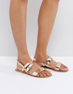 Кожаные сандалии ASOS FINALLY - Золотой