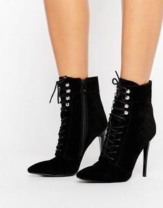 Черные ботильоны с острым носком и шнуровкой Public Desire - Черный