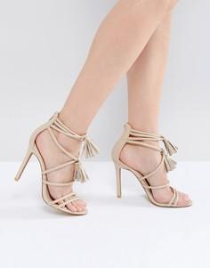 Телесные босоножки на каблуке с завязками Public Desire - Бежевый