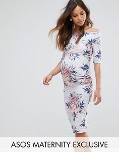 Платье со спущенными плечами, рукавами до локтя и цветочным принтом ASOS Maternity - Синий