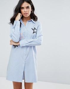 Платье-рубашка с вышитыми звездами Liquorish - Синий