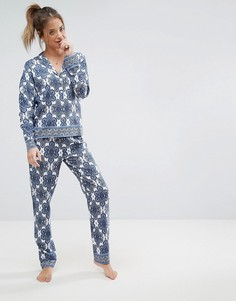 Пижамный комплект из рубашки с длинными рукавами и брюк с мозаичным принтом ASOS - Мульти