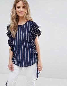 Блузка без рукавов с оборками Liquorish - Темно-синий