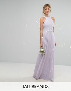 Плиссированное платье макси с высоким воротником TFNC Tall Wedding - Фиолетовый