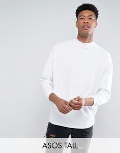 Белая oversize-футболка с высоким воротом и укороченными рукавами ASOS TALL - Белый