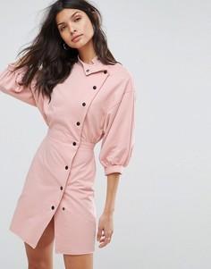 Платье мини на пуговицах в стиле 80-х ASOS - Розовый