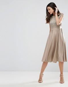 Приталенное платье миди с кружевным кроп-топом и отделкой металлик ASOS - Серебряный