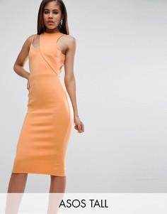 Асимметричное платье с вырезом у воротника ASOS TALL - Оранжевый