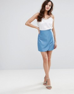 Мини-юбка с запахом и фигурным краем Fashion Union - Синий