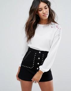 Блузка с цветочной вышивкой и манжетами New Look - Кремовый