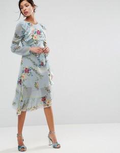 Чайное платье миди с оборкой, клетчатым и цветочным принтом ASOS - Мульти