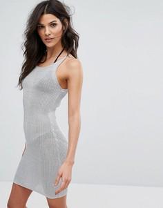 Облегающее платье мини с эффектом металлик Missguided - Серебряный