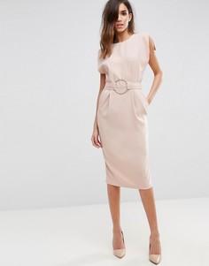 Платье миди с короткими рукавами и кольцом на поясе ASOS - Розовый