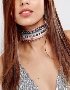 Броское фестивальное ожерелье-чокер ASOS - Мульти