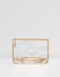 Прозрачный клатч с золотисто-розовой отделкой South Beach - Золотой