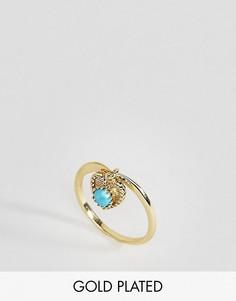Кольцо с бирюзой - камнем для родившихся в декабре Rock N Rose - Золотой