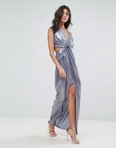 Платье макси цвета металлик с перекрученным передом ASOS - Мульти