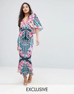 Платье макси с абстрактным цветочным принтом и кейпом Ginger Fizz - Мульти
