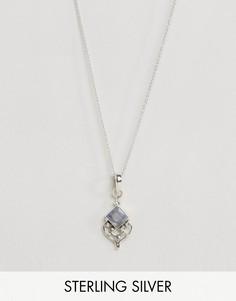 Ожерелье с подвеской с полудрагоценным камнем Rock N Rose - Серебряный