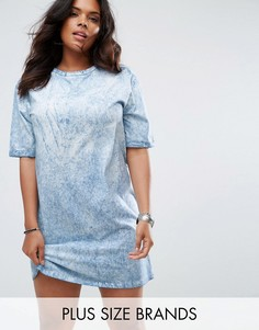 Свободное платье-футболка с принтом тай-дай Missguided Plus - Синий