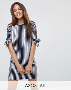 Платье-футболка в полоску с завязками на рукавах ASOS TALL - Мульти