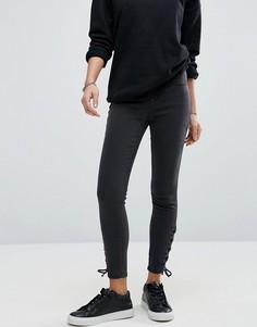 Зауженные джинсы со шнуровками New Look - Черный
