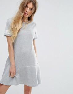 Трикотажное платье с логотипом на рукавах Tommy Hilfiger Denim - Серый