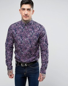 Фиолетовая рубашка с принтом пейсли Pretty Green Chelsea - Фиолетовый