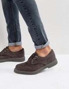 Серые замшевые туфли со шнуровкой и толстой подошвой ASOS - Светло-серый