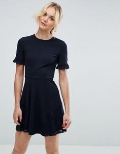 Приталенное платье мини с кружевом ASOS - Темно-синий