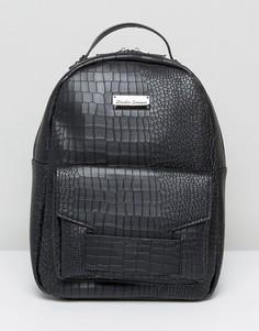 Рюкзак с тиснением под крокодиловую кожу и наружным карманом Claudia Canova - Черный