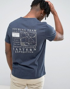 Темно-синяя футболка с принтом на спине Jack Wills Wentworth - Темно-синий