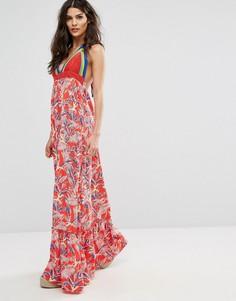 Платье макси с принтом и отделкой кроше Tommy Hilfiger Denim - Красный