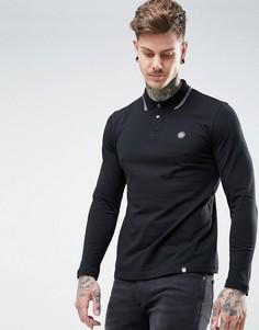 Черная футболка-поло из пике с длинными рукавами Pretty Green - Черный