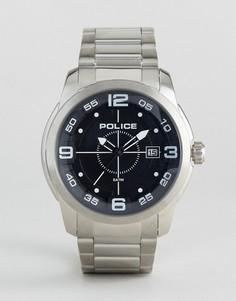 Часы из нержавеющей стали с черным циферблатом Police Sniper - Серебряный