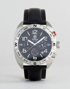 Часы с черным кожаным ремешком и многофункциональным циферблатом Timberland Oakwell Mens - Черный