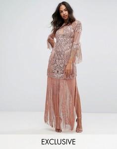 Сетчатое платье макси с отделкой и бахромой A Star Is Born - Розовый