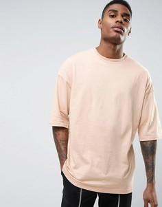 Бежевая oversize-футболка с короткими рукавами ASOS - Бежевый