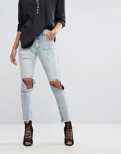 Рваные джинсы скинни с завышенной талией One Teaspoon Freebirds - Синий