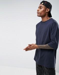 Темно-синяя oversize-футболка с короткими рукавами ASOS - Темно-синий