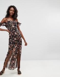 Платье макси с цветочным принтом Boohoo - Черный