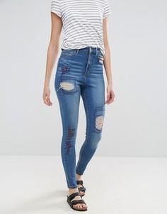 Рваные джинсы скинни с завышенной талией Waven Anika - Синий