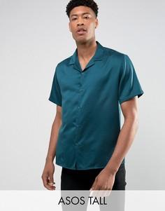 Сине-зеленая свободная сатиновая рубашка с лацканами на воротнике ASOS TALL - Зеленый